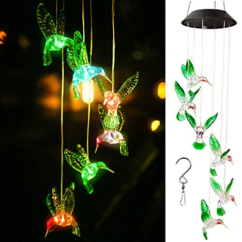 WERTIOO Solar Hummingbird Wind Chime Color Changing Solar LED String Lights Outdoor Mobile Hanging Patio Light (Solar String Lights Hummingbird)