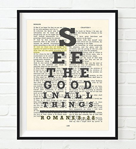 See the Good in All Things - All things work for Good - Romans 8:28 eye chart Christian UNFRAMED art PRINT, Vintage Bible verse scripture wall & home decor poster, Inspirational gift, 8x10 inches