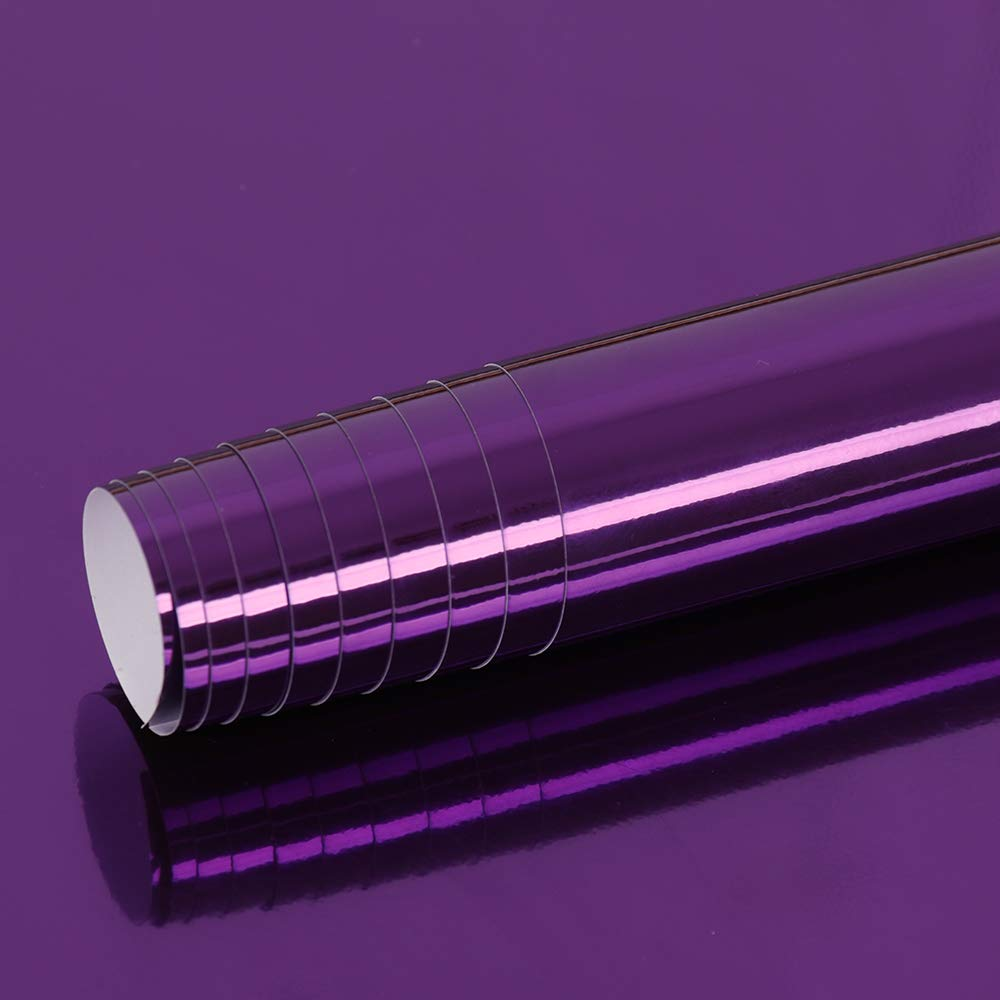 HOHOFILM Purple Gloss 152cmx30cm Roll Car Wrap Vinyl Stretchable Chrome Vinyl Vehicle Wrap Film DIY Easy to Install with Air Release Technology Automotive Paint Protective Film