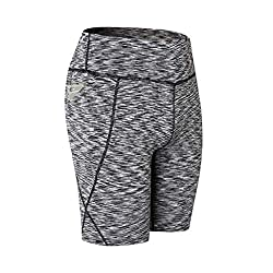Klhnu High Waist Out Pocket Yoga Short Tummy Control Workout Running Athletic Non See Through Yoga Shorts A Beige S