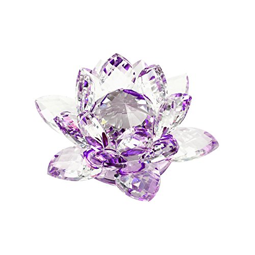 Purple Glass Flower (Kloud City Purple Crystal Lotus Flower with Gift Box forb Feng Shui Home Decor Home Decoration)