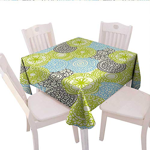 - haommhome Floral Plaid Tablecloth Pastel Colored Flowers with Ethnic Folk Style Effects Elegance Design Wedding Banquet Tablecloth 70