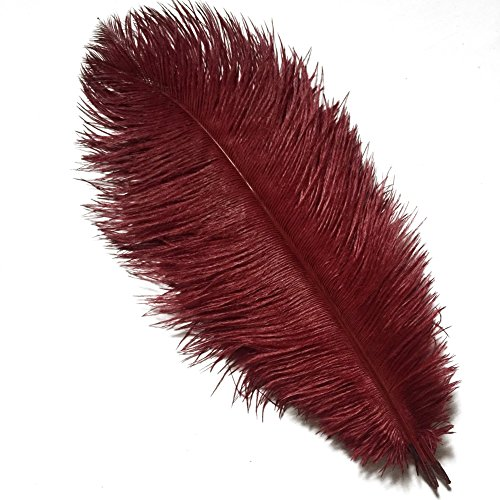 (MELADY Pack of 10pcs Natural Ostrich Feathers 12-14inch(30-35cm) for Home Wedding Party Decoration (Burgundy))