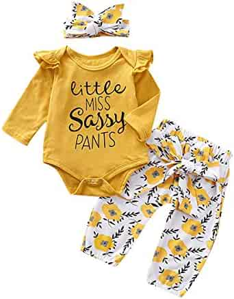 PigMaMa Infant Baby Girl Sets Ruffle Long Sleeve Yellow T-Shirt Tops Flower Pant Outfits Toddler Clothes