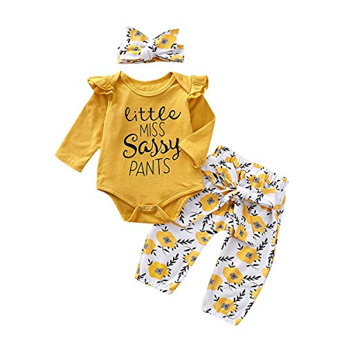 Flower Girl Clothes (PigMaMa 3 Pcs Infant Baby Girl Clothes Yellow Long Sleeve Romper Flower Pant Headband Toddler Outfits Set 12-18)