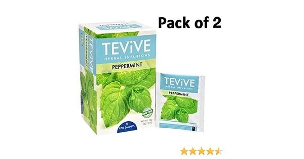 Pack de 2, tevive Infusiones hierbabuena Té de hierbas, 20 ...