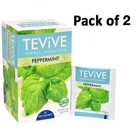 (Pack of 2, Tevive Herbal Infusions Peppermint Tea, 20 Tea bags per box.)