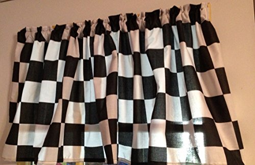 Window Curtain Valance Made from Racecar Checkered Flag Fabric