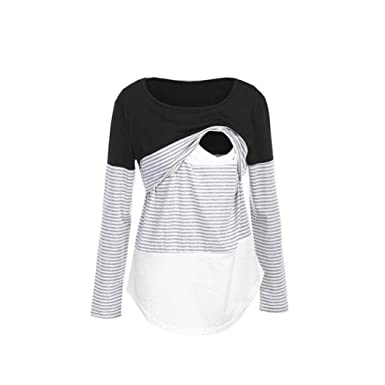 7db77e0b00f Sixcup Breastfeeding Tops for Women Mama Striped Maternity Nursing Double  Layered Top Round Neckline Clothing: Amazon.co.uk: Clothing