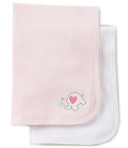Thermal Waffle Weave Baby Blankets, Pink and White with Embroidered Applique on corner of Pink Blanket (2-pack) 2 Pack Thermal Blanket