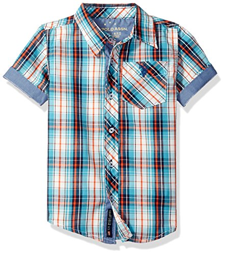 Short Sleeve Plaid Woven Shirt (U.S. Polo Assn. Boys' Short Sleeve Plaid Woven Shirt, Classic Navy, 7)