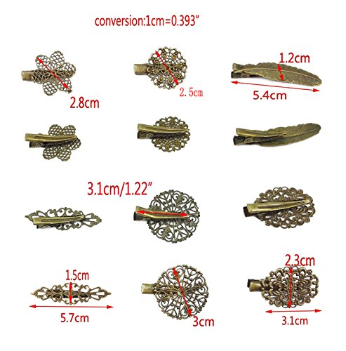 Yueton Pack Of 6 Vintage Leaf Flower Shape Hair Clip Headwear Lady Hair Accessories
