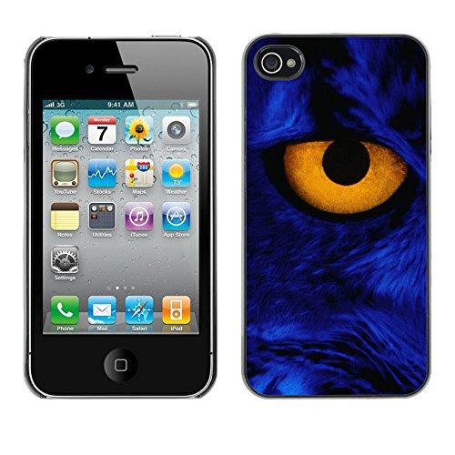 TaiTech / Case Cover Housse Coque étui - Yellow Eye Close Cat Feline Blue Portrait - Apple iPhone 4 / 4S