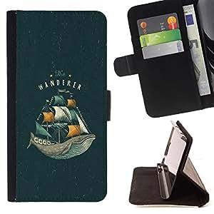 BullDog Case - FOR/Samsung Galaxy Core Prime / - / WHALE OCEAN SEA VIGNETTE BOOK SAILS /- Monedero de cuero de la PU Llevar cubierta de la caja con el ID Credit Card Slots Flip funda de cuer