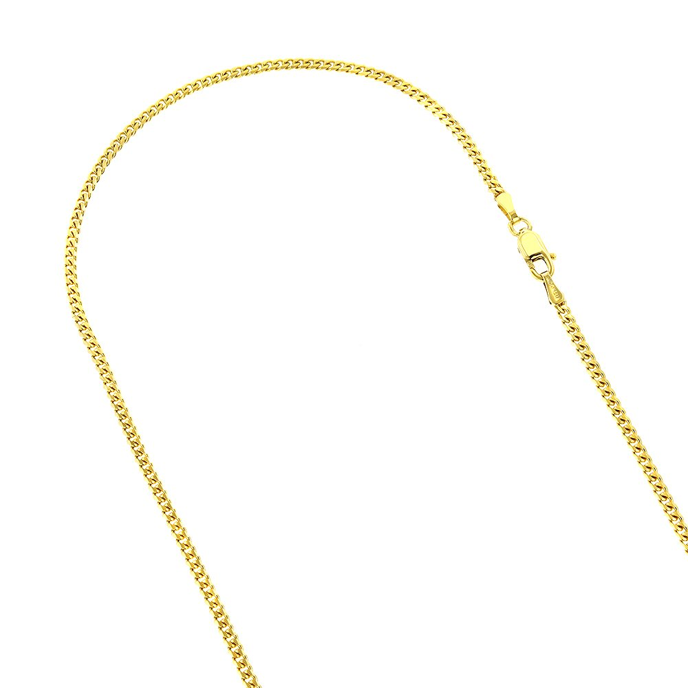 Luxurman 14K Solid Yellow Gold 3mm Wide Diamond Cut Curb Link Chain Chain 24'' Necklace with Lobster Clasp