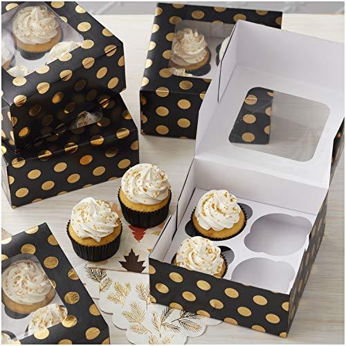 Wilton Halloween Cupcake Boxes (Wilton Autumn Black and Gold Dot Cupcake Boxes,)