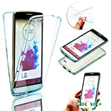 LG G3 Case Crystal Clear,Vandot Premium Ultra Slim Fit Soft TPU Rubber 360 Degree Full Body Front & Back Protective Case Shockproof Scratch-resistant Cover for LG G3 -Transparent Blue