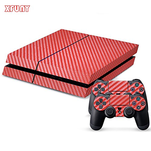 XFUNY(TM) Highest Quality Full Body Decal Carbon Fiber Protective Skin Cover Sticker for Sony PlayStation 4 Console System and Two Decals for PS4 DualShock Controller - Red