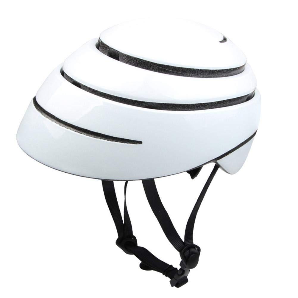 BTAWM Helmets Faltbare Fahrrad Fahrradhelm tragbare Ultraleicht EPS + PC Sicherheit Rennrad Helm Stadt Radfahren Ausrüstung Weiß L
