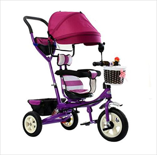 Triciclo Carrito de bebé Bicicleta de juguete para niños Bicicleta de rueda inflable 3 ruedas, asiento giratorio/plegable...