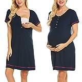 Ekouaer Womens Maternity Nursing Pajamas Set£¬Soft Breastfeeding Pjs Pregnancy Sleepwear (Navy Blue M)