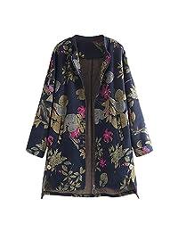 VEZAD Store Womens Plush Coats Winter Warm Vintage Outerwear Floral Print Pockets Vintage Oversize Outerwear
