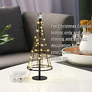 HONESTY Metallic Lamp,Lovely Little Tree Lights,Trees with Flat Plate and Battery House Outside for Indoor, Warm White LEDs on Copper Wire 115