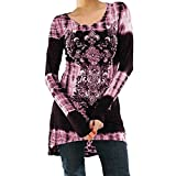 Leedford Blouse,Women's Casual Long Sleeve Blouse O Neck Tops Digital Printed Shirt Flowy Tunic Top (S, Pink)