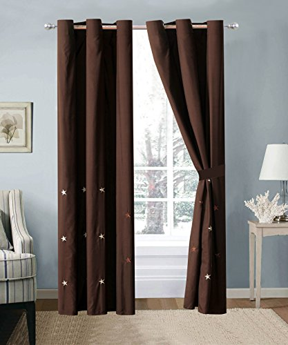Dallas Stars Drapes (4-Pc Western Star Embroidery Curtain Set Brown Chocolate Metal Grommet Sheer Liner Drape)