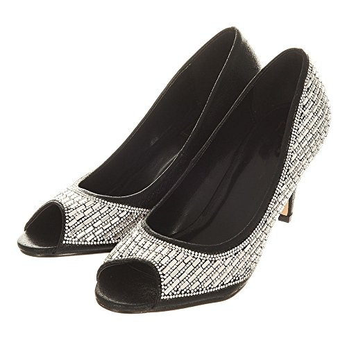 Bria Diamante Bria Kantapää Musta Open Diamante Keskipitkällä Heel Kenkä Black Medium Avokärkinen Toe Shoe 4dF8qdw