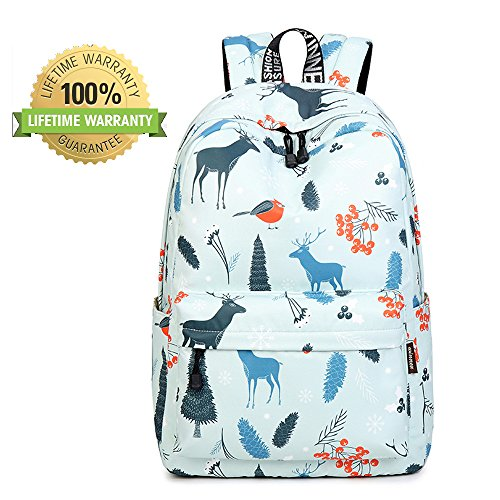 AOAKY Backpacks School Bookbag Waterproof Daypack Lightweight Canvas College Bags (Light Blue-Giraffe)