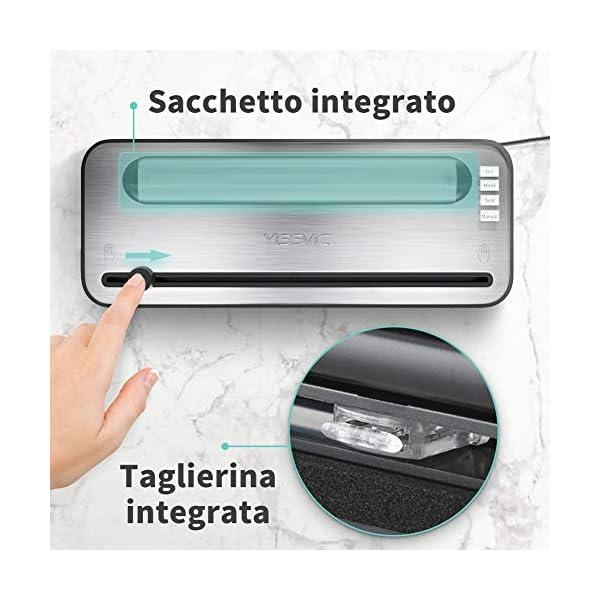 Yissvic Macchina Sottovuoto per Alimenti con Taglierina incorporata e Contenitore per Rotoli, Macchina Sottovuoto… 4