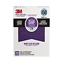 3M Pro Grade NO-Slip Grip Advanced Sandpaper, 9-Inch x 11-Inch Sheet, 20-Count, (26150CP-5-G)