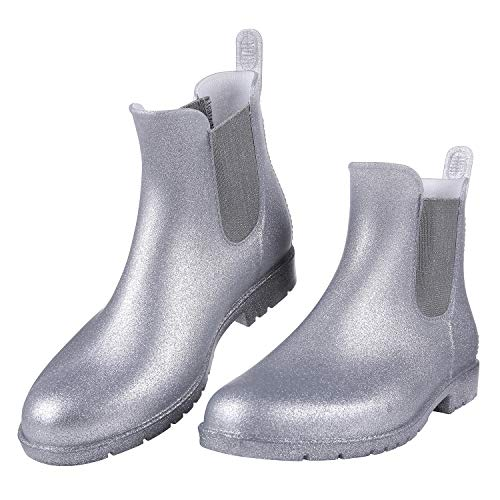 Women's Ankel Rain Boots Waterproof Slip On Chelsea Booties Light Glitter Silver LS35