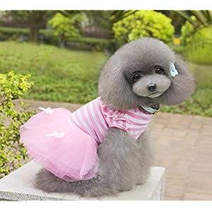 Alroman Dog Dresses Pets Clothes Pink Pet Dresses Doggie Skirt Puppy Clothes Dog Clothes Puppy Apparel Cat Dresses Dog Outfits(L)