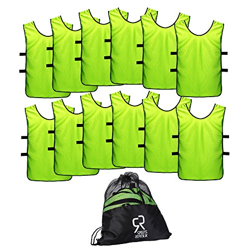 SportsRepublik Soccer Pinnies | Scrimmage Vests (12-Pack) - Perfect as Kids Basketball Jerseys, Youth Football Practice Jerseys or Pennies for Soccer Kids, Youth and Adults - Last Longer, Look Cooler