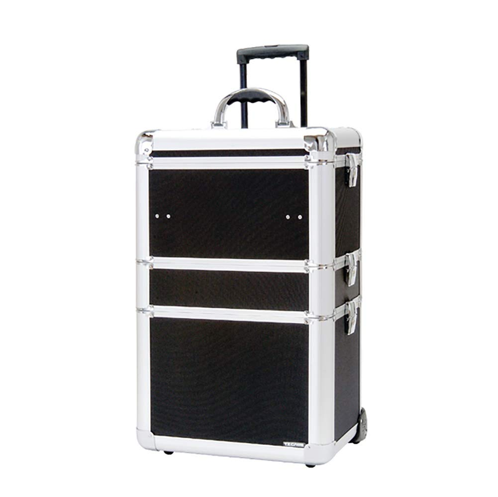3 in 1 Professional Rolling Aluminum Makeup Train Case Hairdressing Trolley Cosmetic Beauty Artist Jewelry Organizer Travel Box on Wheels wexe.com
