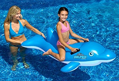 Swimline 90453 Swimming Pool Inflatable Dolphin Stable Ride-On Float Toys, Pair