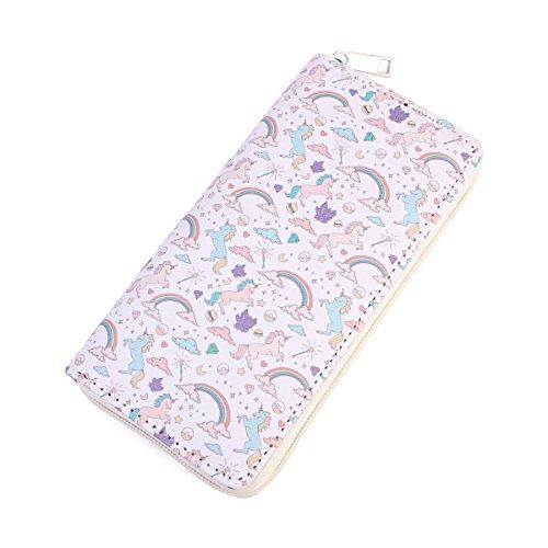Cute Animal Print Zip Around Long Wallet - Fun Pattern Zipper Clutch Purse Card & Phone Slots Rainbow/Unicorn/Llama/Alpaca -