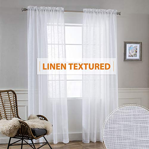 RYB HOME Living Room Textured Sheer Curtains - Window Treatment Drapes Privacy Dreamy Line Look Semi-Volie for Interior Spaces/Sliding Glass Door, Sunlight Through, White, W 52
