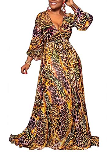 Women's Summer Long Sleeve V Neck Long Maxi Dress Loose Leopard Print Swing A Line Skirt Dresses Plus Size Club