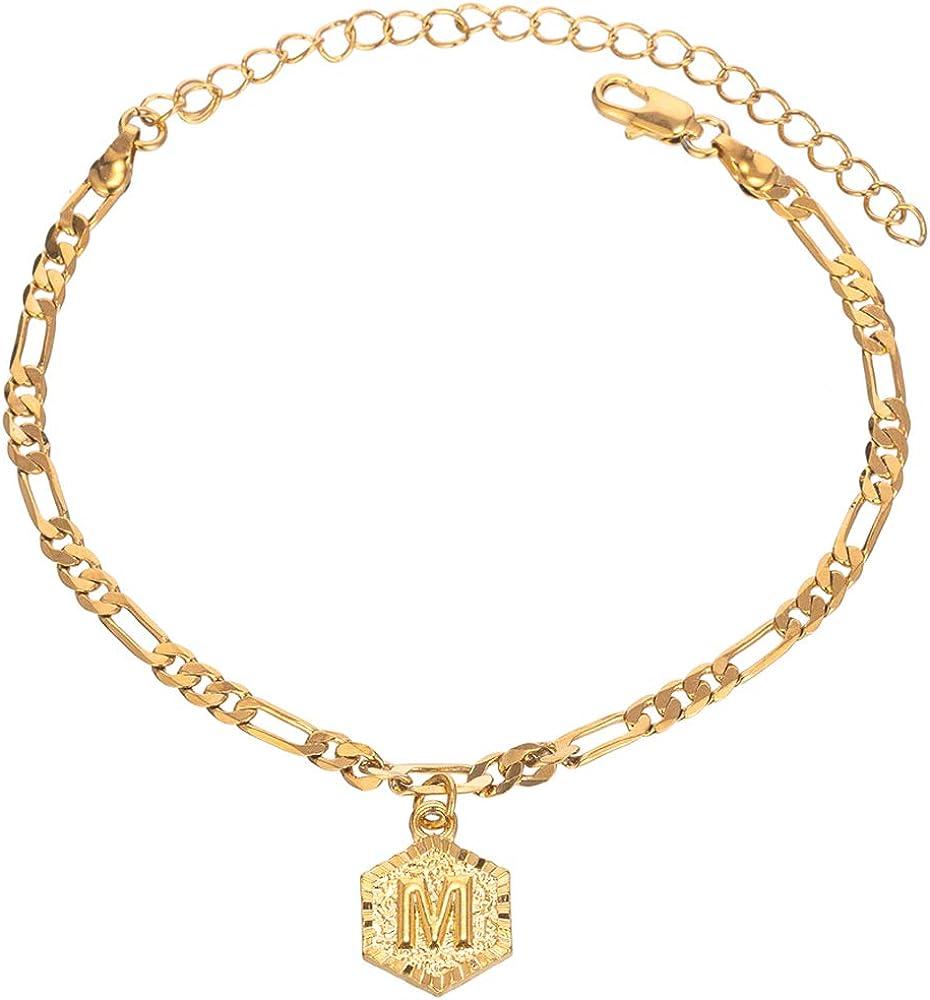 26 lettere con iniziale Figaro Cavigliera da donna placcata in oro 18 ct 4 mm