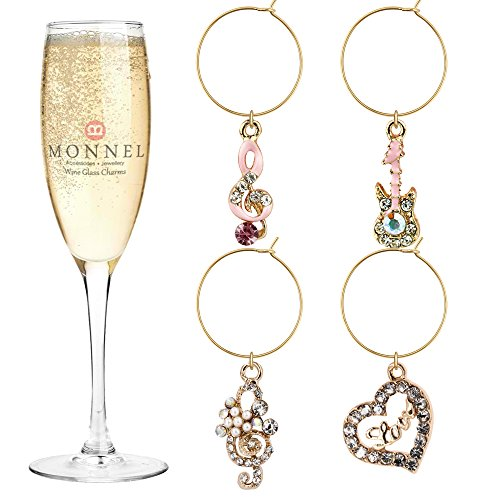 Pink Crystal Heart and Music Wine  Glass Charms for Party with Velvet Bag (Set of 4)