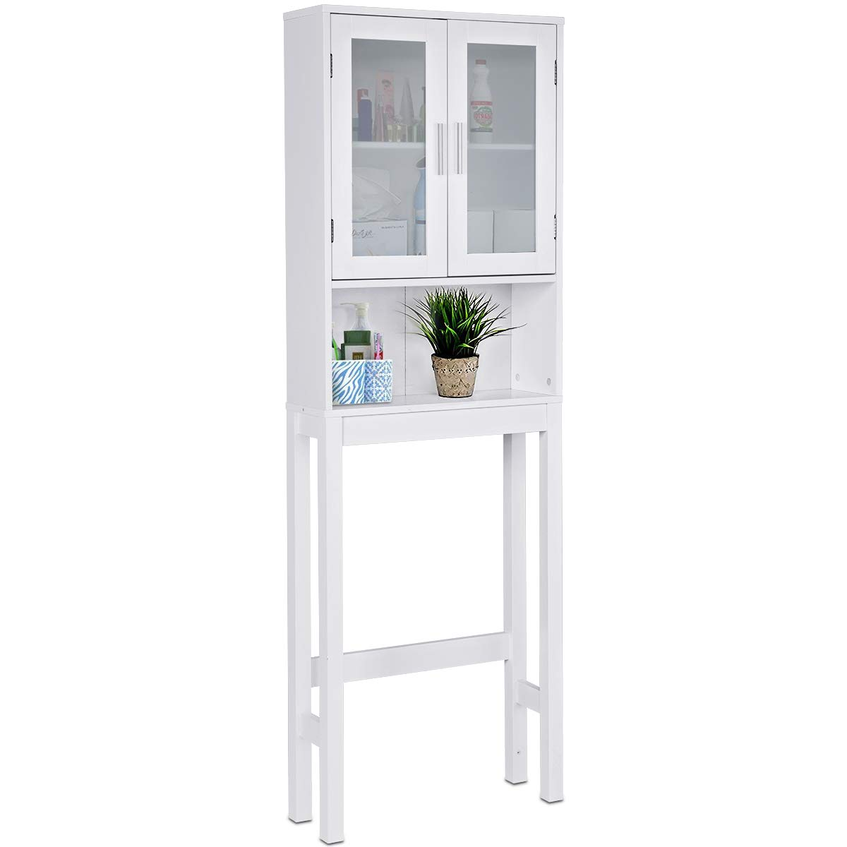 Giantex Over-The-Toilet Bathroom Storage Space Saver with Adjustable Shelf Collect Cabinet, White (2 Glass Door w/Shelf) by Giantex
