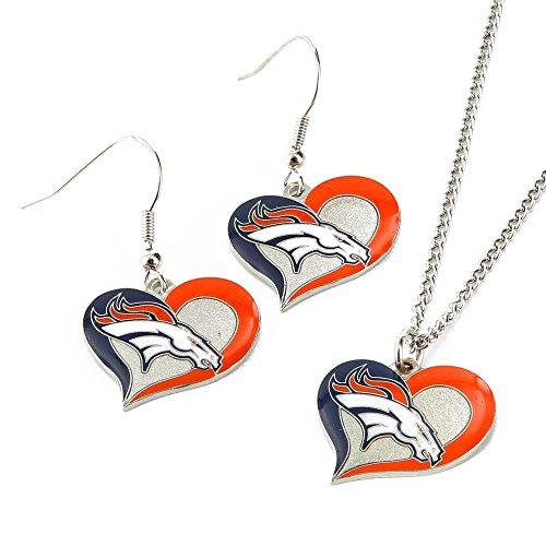 NFL Denver Broncos Swirl Heart Earrings & Pendant Set