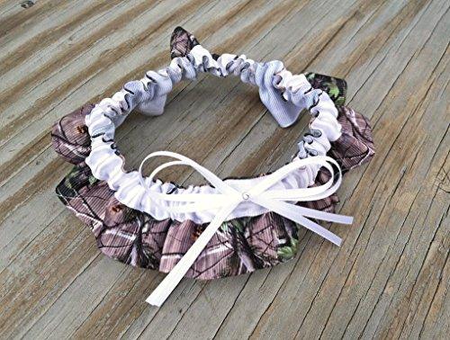 SEXY Camouflage & White Satin Bling Bridal Wedding Keepsake Garter Rhinestone Camo