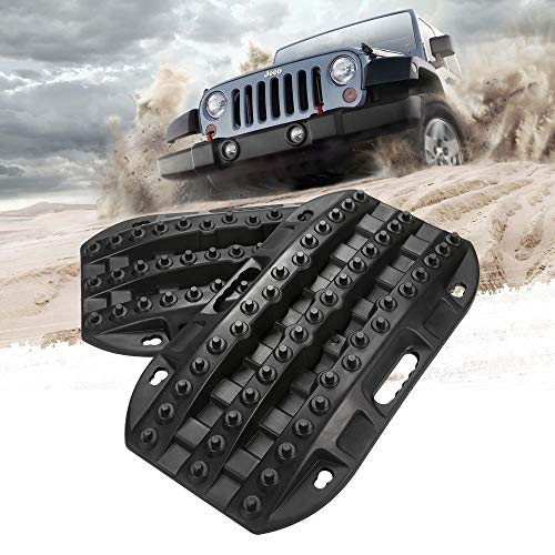 BUNKER INDUST Off-Road Traction Boards, 2 Pcs Recovery Tracks Traction Mat for 4X4 Jeep Mud, Sand, Snow Traction Ladder-Black Tire Traction Tool