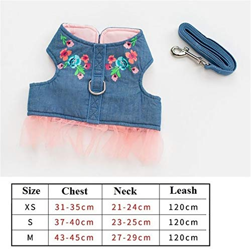BOOB New Dog Pet Harness Outdoor Walking Durable Pet Lead Jeans Pet Hooded Vest Harness for Small Puppy Dogs Leash Dring Teddy Denim Flower XS