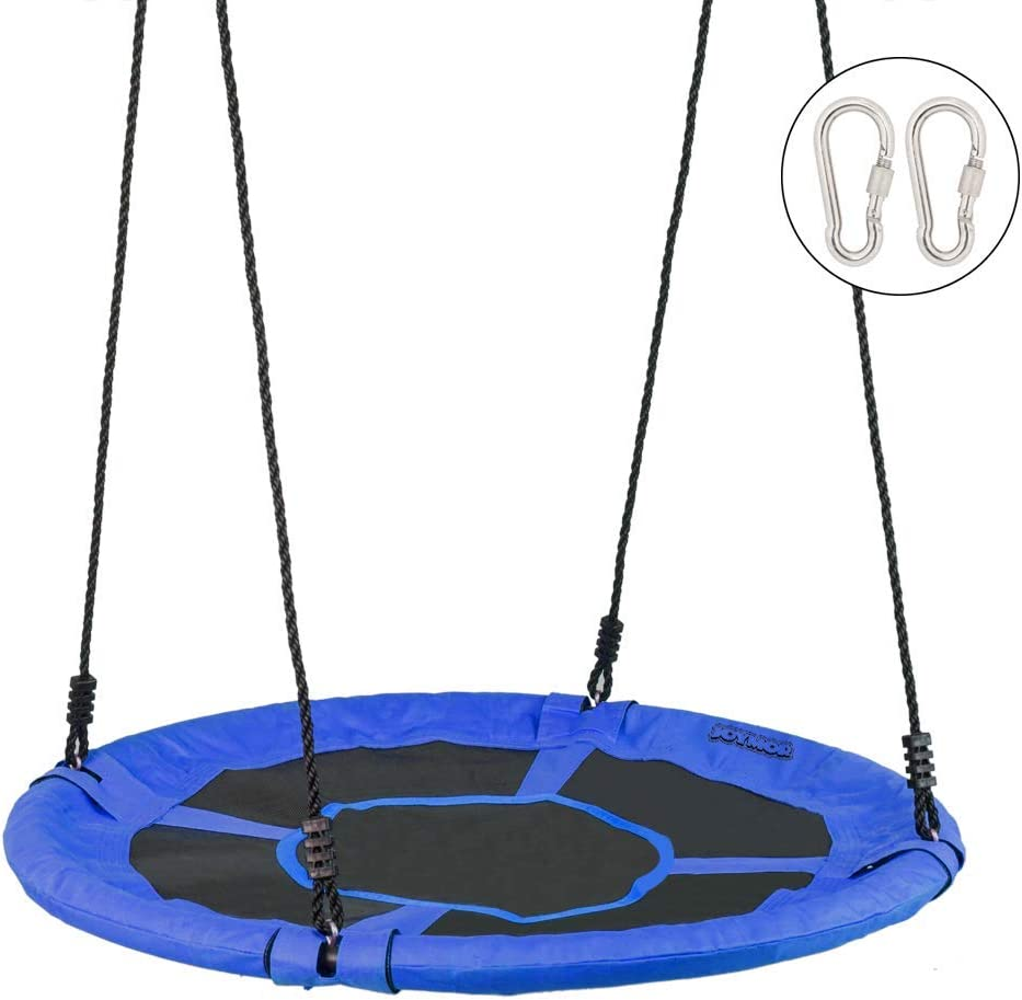 JOYMOR Saucer Tree Swing 40 Inch Diameter Round Oxford Detachable Swing with Extra 2 Carabiners Adjustable Tree Rope,Great for Tree, Swing Set, Backyard, Playground, Playroom(Blue)