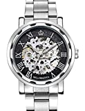 GuTe Steampunk Style Silver Black Men's Skeleton Mechanical Hand-wind Wrist Watch by GuTe Mechanical